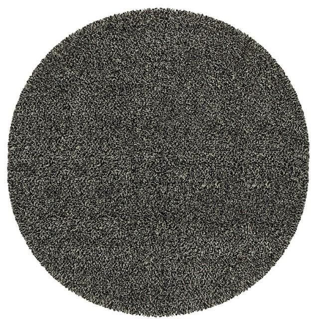 Contemporary loft round 8 39 round black ivory area rug for Round contemporary area rugs
