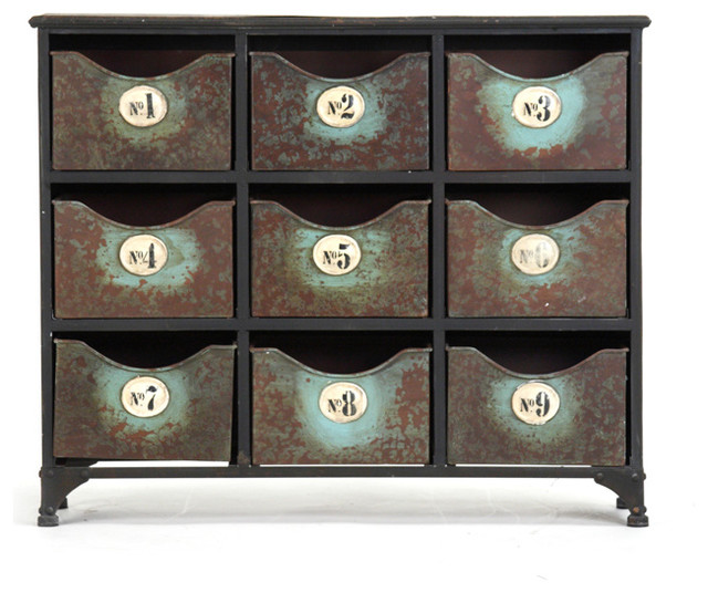 Reclaimed Industrial Iron 9 Drawer Storage Cabinet industrial-storage-units-and-cabinets