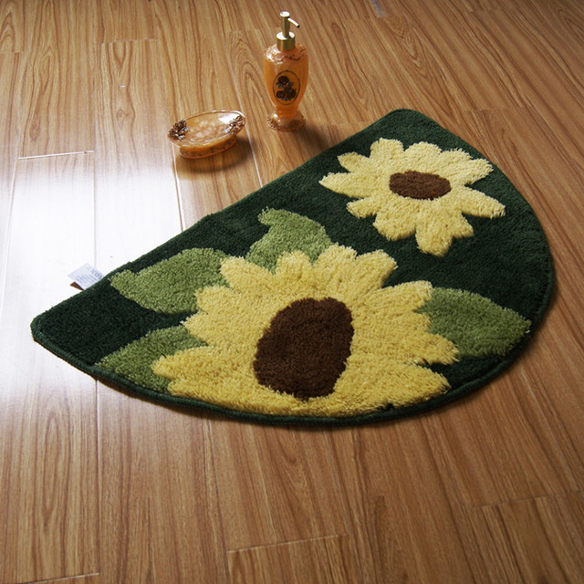 Semi-circle Yellow Sunflower Non-slip Rug Bath Mat