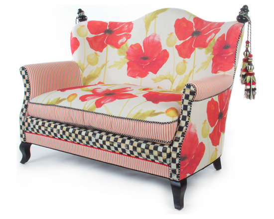 Poppy Loveseat | MacKenzie-Childs - Like sitting in an impressionist painting; a truly exquisite experience. Dreamy watercolor florals in crimson and chartreuse tones, ticking stripes, checked accents and piping, and vines and bright blossoms that pop. Even if you reside in the harshest of concrete jungles, Poppy Furniture provides a respite as welcome and inviting as the secret garden you've long imagined. Equally sublime as a separate seat or grouped together.