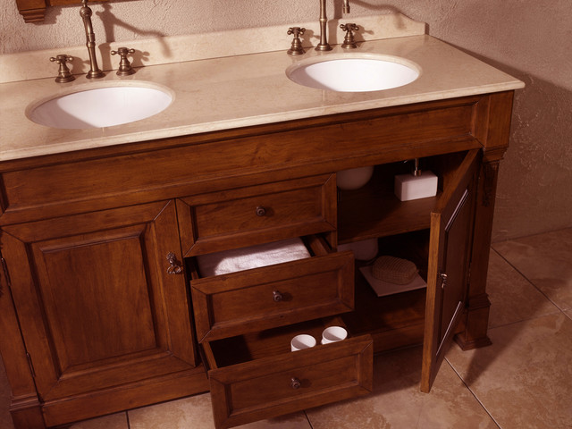 60 bosco double bath vanity oak traditional bathroom vanities and sink consoles for Bathroom vanities san diego