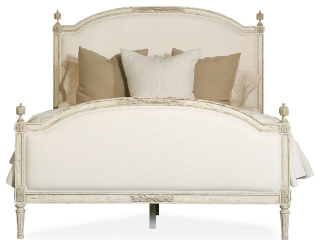 Dauphine french country weathered white linen upholstered for French country style beds