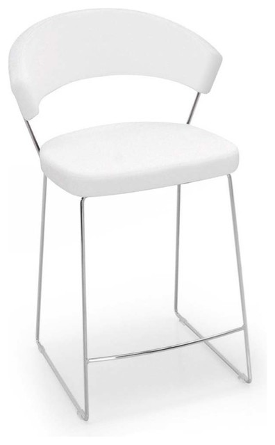 new york counter stool leather optic white modern bar