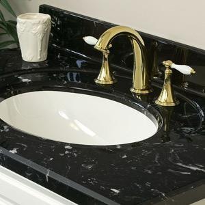 Cultured marble vanity top with black white vein - Bathroom vanity black marble top ...