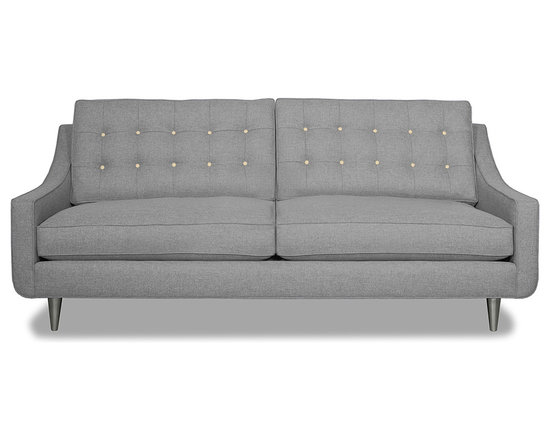 Apt2B.com - Cloverdale Sofa Grey, Mountain Grey/Cream - This cozy sofa is as comfortable as it is sophisticated. With an unexpected pop of color in the button tufting and a nice deep seat it's a perfect place to cuddle up with your date.