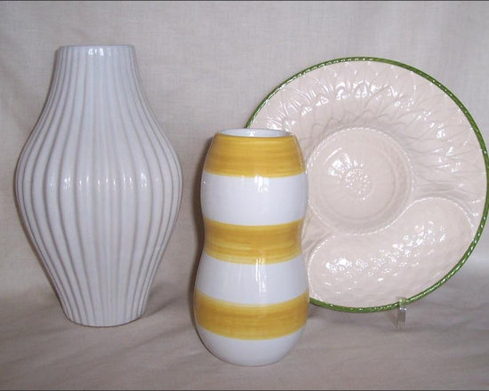 Contemporary Vessels, Vases - Curves and Sinuous Shapes, Flutes and Stripes Define These Modern, Contemporary Vases.  A White Fluted Vase sits with a Vase in Yellow and White Stripes.