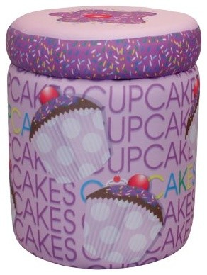 Newco Kids Cup Cake Collection Lavender Storage Ottoman modern-kids-toys