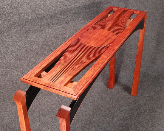 "Tai Lake - Entry tables - ""Line Study"" ,Solid Koa entry table 32 x 12 x 48, by order, Photo byTai Lake"