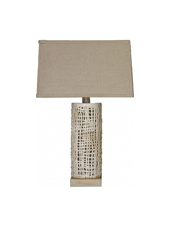 Tall Basket Weave Lamp - White by Clate Grunden - This tall, open basket weave lamp is an earthy interpretation of classic shapes. One-of-a-kind matte white glazed stoneware on a white clay body. Includes a custom bleached oak ceruse base and natural linen shade. Other finishes available.