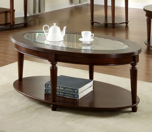Houzz Black Coffee Table: Furniture Of America Crescent Dark Cherry Glass Top Oval
