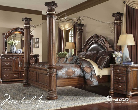 AICO Furniture - Monte Carlo II Poster Bedroom Set in Cafe Noir - N53000QP/N5300 - Set Includes Poster Bed (headboard, footboard, rails and wood slats), Nightstand, Dresser and Mirror