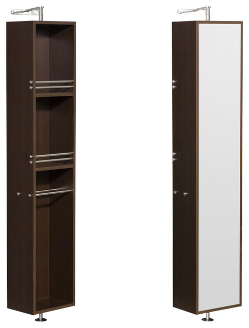 Amare Linen Tower & Rotating Floor Cabinet w/ Full-Length Mirror in Espresso - Transitional ...