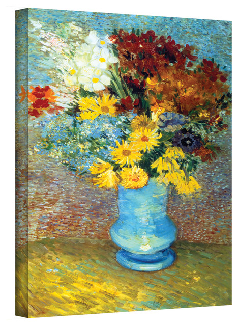 Vincent van Gogh 'Flowers in Blue Vase' Wrapped Canvas Art contemporary-artwork
