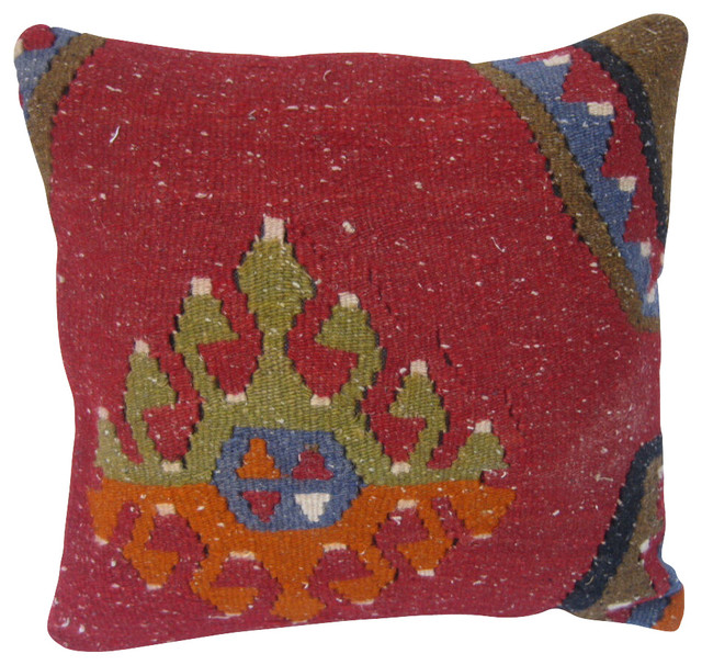 Southwestern Throw Pillow Covers : Turkish, Tribal Kilim Pillow Cover. - Southwestern - Decorative Pillows - by East to West Importers