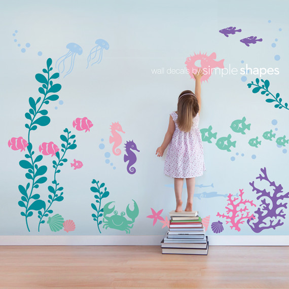 Under the Sea Wall Decal, Color Scheme A - Transitional - Kids Wall Decor - by Simple Shapes