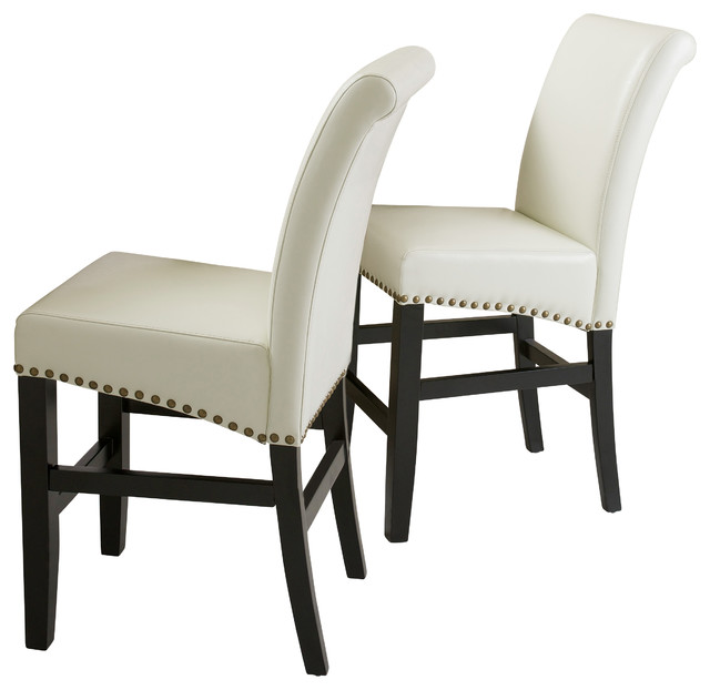 Carmen Leather Stools Set of 2 Ivory Counter Height  : contemporary bar stools and counter stools from www.houzz.com size 640 x 622 jpeg 46kB