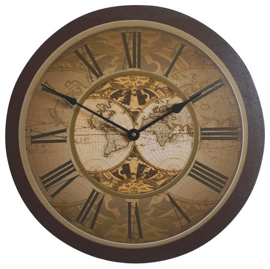 Old World Map Wall Clock 18 Quot Traditional Wall Clocks By Clocks Around The World