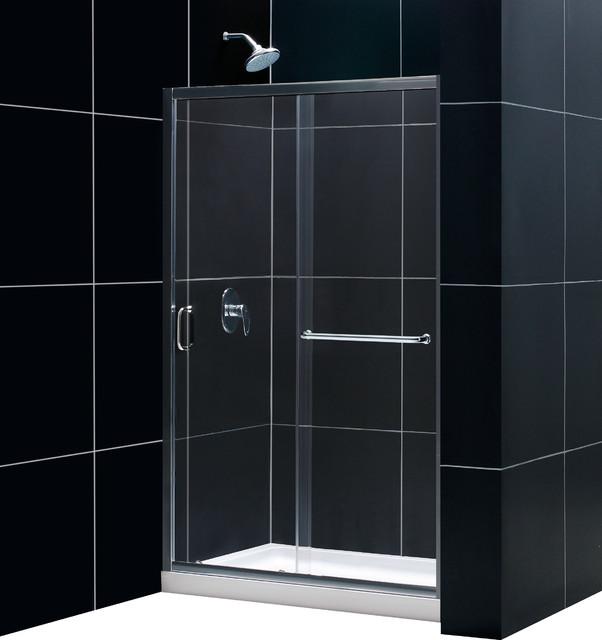 Infinity-Z Frameless Sliding Shower Door, 36x48 Shower Base & QWALL Backwall Kit - Modern ...