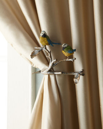Janice Minor Two Feathered Friends Tiebacks traditional curtains