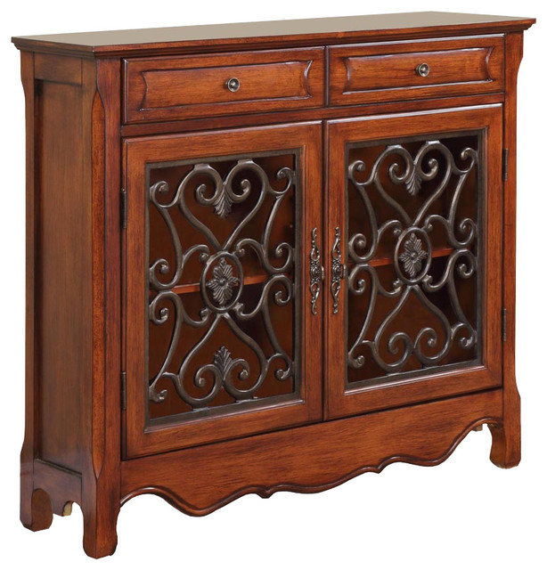 Powell light cherry 2 door and 2 drawer scroll console for Sofa table with drawers and doors