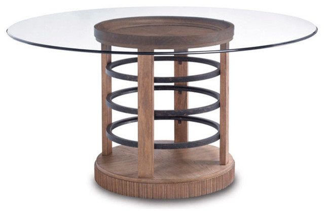 Art furniture ventura round glass dining table top and for Traditional dining table bases