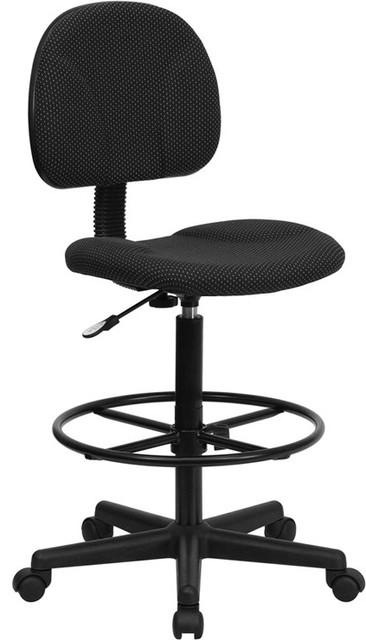 Black Patterned Fabric Ergonomic Drafting Stool Adjustable Range contemporary-task-chairs