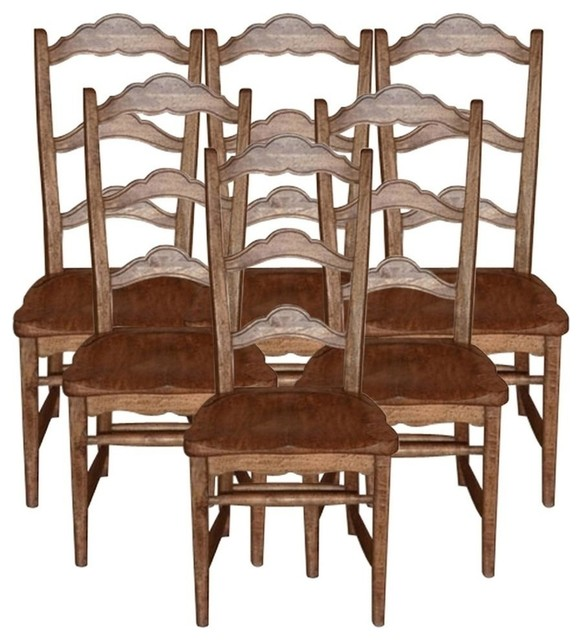 Pecan Wood Furniture Dining Room: New Chair Pecan Colonial Set 6 Stretcher