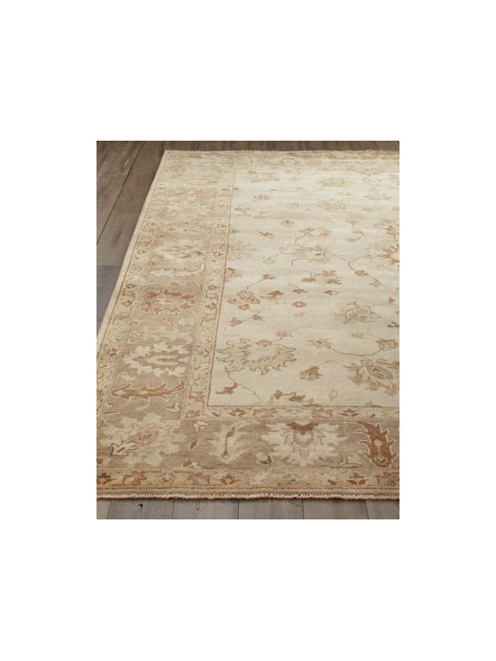 Horchow - Sandy Vines Oushak Rug, 8' x 10' - A traditional vine motif highlighted in light taupe, sand, and cool gray makes this handmade rug the perfect choice for any room. Durable and intended for foot traffic. Hand knotted of wool on a cotton foundation. Hand trimmed. Washed for an antiqued...