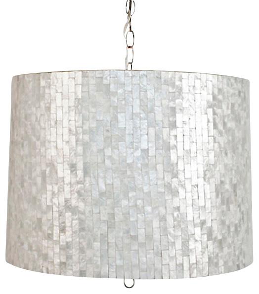 Capiz Shell Drum Pendant Brick Large Contemporary Pendant Lighting