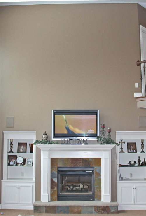 Need Ideas For My Empty Wall Above Fireplace Tv