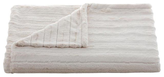 Lux Channel Stripe Ivory Throw transitional-throws