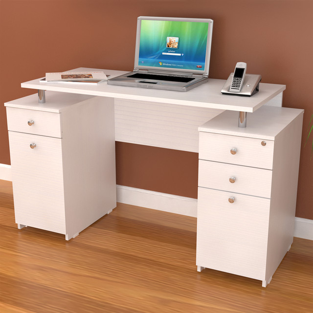 white modern straight computer writing desk with locking file drawer