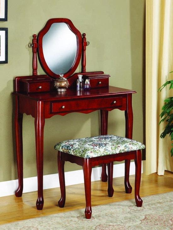 Bedrooms Furniture - Traditional Cherry Vanity&Stool Set