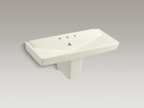 "KOHLER R�ve(R) 39"" semi-pedestal bathroom sink with 8"" widespread faucet holes contemporary-bathroom-sinks"