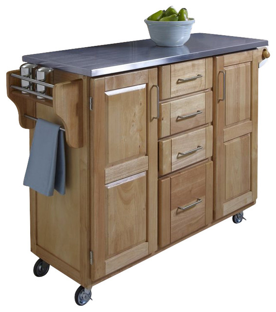 home styles furniture natural wood cart with stainless enhance your culinary space with a stainless steel kitchen