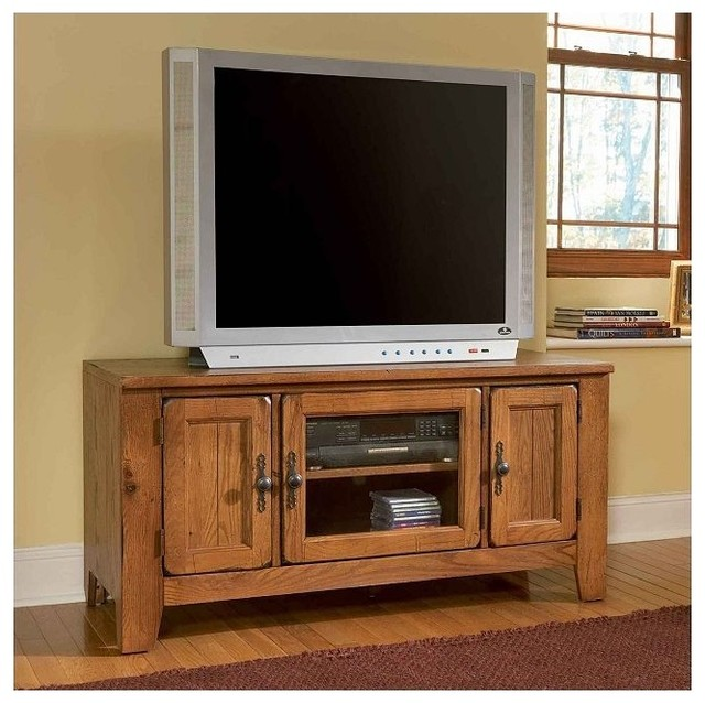 """Broyhill - Attic Heirlooms 60"""" TV Console in Natural Oak - 3597-82S traditional-entertainment-centers-and-tv-stands"""