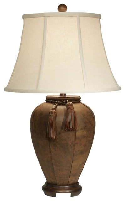 Rustic Lodge Suede Wood Table Lamp Traditional Table