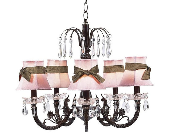"Belle & June - Olivia Chandelier, Pink, 18 1/4""x17 1/2"" - This strikingly elegant 5-arm ivory chandelier features tailored pink or blue dupioni silk shades, a dramatic mocha iron base, and hanging crystals throughout. We love hanging this gorgeous light fixture in the center of child's room or nursery. So chic!"