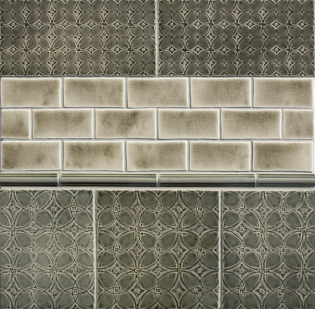 Scraffito pattern a 5x10 and 8x8 eclectic tile for Bathroom ideas 8x8