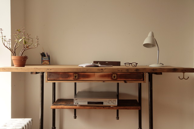 Industrial Reclaimed Wood Standing Desk - Rustic - Desks And Hutches ...