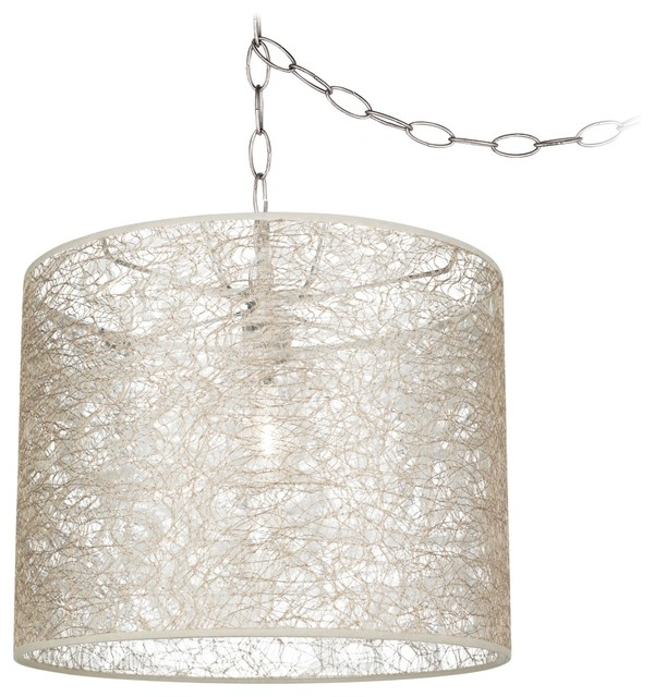 """Traditional Transparent Lace 14"""" Wide Brushed Steel Swag Chandelier traditional-chandeliers"""