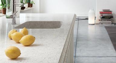 Silestone nebula with integrated quartz sink kitchen for Quartz integrated sink