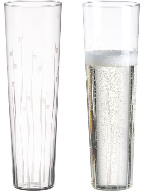 Bloom Etched Stemless Flute modern-everyday-glasses