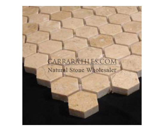 """Crema Marfil Marble 1"""" Hexagon Mosaic Tile Polished - Crema Marfil Hexagon Mosaic Tile is also known as 1 inch Crema Marfil Hexagon Mosaic. Available in polished finish, premium grade hexagon mosaic tile is perfect for both residential and commercial projects (kitchen renovation, shower remodeling, renovating bathroom, backsplash, flooring, cladding walls). Hexagon Mosaic Tiles are mainly preferred as floor tiles for their clean, aesthetic qualities. A large selection of coordinating products are available, including Crema Marfil basketweave mosaics, Crema Marfil herringbone mosaics, Crema Marfil 3x6 marble subway tiles, 12x12 Crema Marfil marble tiles, 4x4 Crema Marfil marble tiles, Crema Marfil borders, Crema Marfil moldings and Crema Marfil baseboards"""