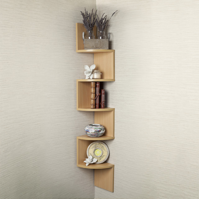 Large Beech Veneer Zig Zag Corner Wall Shelf contemporary-wall-shelves