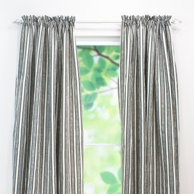 chooty and co thick thin black linen curtain panel