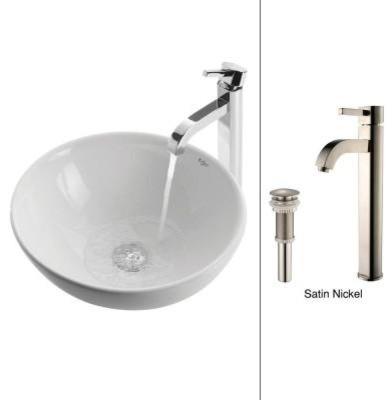 KRAUS Vessel Sink in White with Ramus Faucet in Satin Nickel contemporary-bathroom-sinks