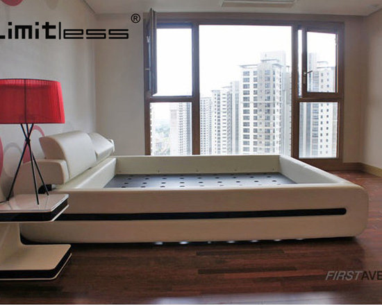 LIMITLESS-H-Ilsan-7.jpg - The G bed imbues Limitless' signature design elements of functionality and flawless style. The acrylic inlay makes a strong design statement. The highly functional headboard also adjusts to an ergonomically designed backrest for reading or watching TV.