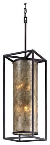Pearson Metro Bronze Eight-Light Large Pendant with Silver Mica Glass modern-pendant-lighting