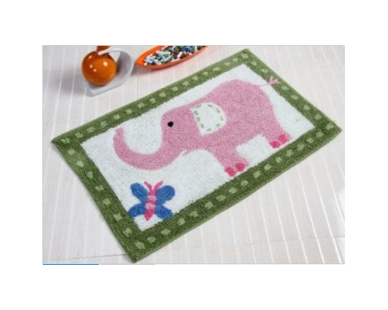 Pink Elephant - 50 x 80 cm Bath Mat or Children Rug - Colourful cheerful and well-designed 100% cotton hand tufted rugs from Homescapes have been created especially for children rooms but can also be used in other rooms including bathroom. These are good quality tufted rugs and not be confused with the usual synthetic printed rugs, yet they are very economically priced